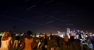 ICRAR staff and students at a Guerrilla Astronomy event on the South Perth foreshore.