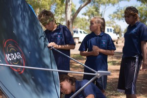 Students at Meekatharra DHS construct the Tiny Radio Telescope (TRT) during an Aspire to Astronomy tour in the Midwest.