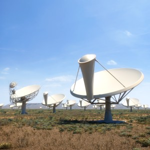 Dish-shaped radio antennas of the SKA in Africa (computer generated image).