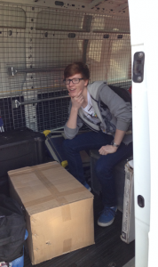 Benjamin Stone taking a break in the middle of helping unload ICRAR equipment during his work experience.
