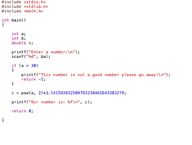 My code to find the area of a circle using Pi to 30 decimal places based on a given radius.