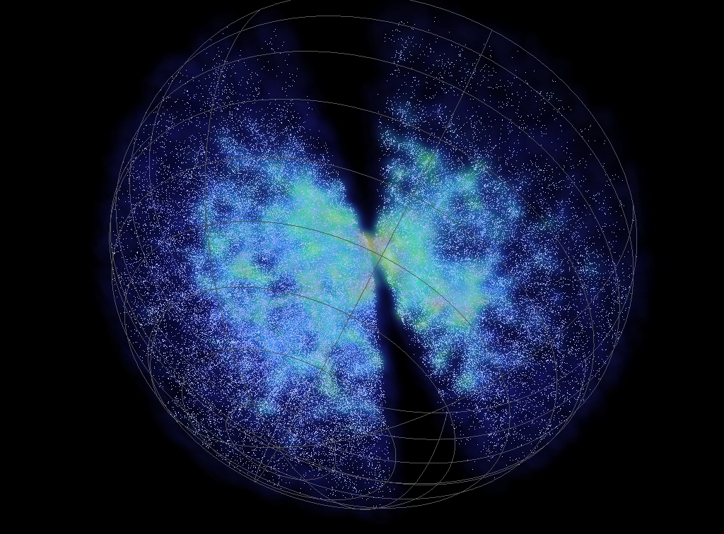 The 6df Galaxy Survey data, each dot is a galaxy and Earth is at the centre of the sphere.Created by Chris Fluke, Centre for Astrophysics & Supercomputing, Swinburne University of Technology.