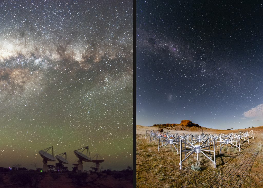 Australian radio telescopes involved in the gravitational wave follow-up collaboration are ASKAP and the MWA, located at CSIRO's Murchison Radio-astronomy Observatory. Both instruments offer a wide field of view, high sensitivity and quick response times, complemented by high-speed supercomputing capabilities, making them valuable additions to the LIGO/Virgo collaboration. Image credits: ASKAP (Alex Cherney), MWA (Pete Wheeler).