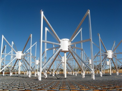 The Murchison Wide-field Array or MWA, a radio telescope under construction in Western Australia's Murchison Radio-astronomy Observatory (MRO) through an international collaboration including teams from Australia, India and North America. Credit: David Herne, ICRAR
