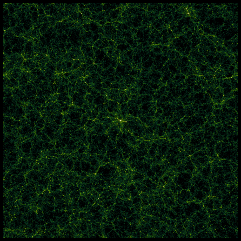 This image is a slice from a large simulation called 'GiggleZ' which complements the WiggleZ survey. It shows a snapshot of the large-scale matter distribution as studied in Morag Scrimgeour's research. Image Credit: Greg Poole, Centre for Astrophysics and Supercomputing, Swinburne University.