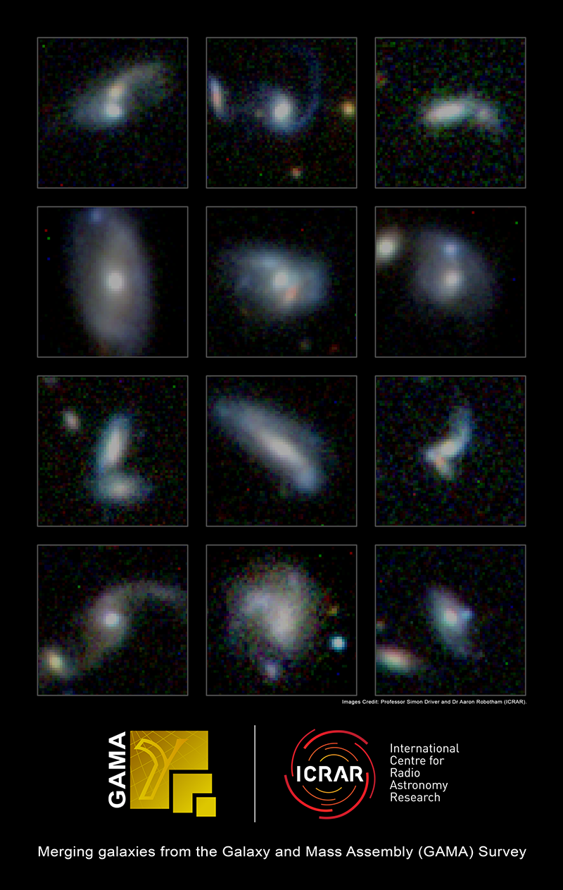 Some of the many thousands of merging galaxies identified within the GAMA survey. Credit: Professor Simon Driver and Dr Aaron Robotham, ICRAR.