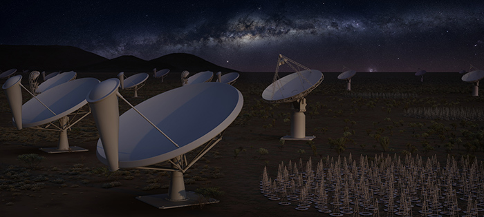 Artist impression representing the first phase of the Square Kilometre Array at night, with its two instruments SKA1 LOW (in Australia, on the right) and SKA1 MID (in South Africa, on the left). SKA1 LOW will be made of some 130,000 dipole antennas and SKA1 MID of some 200 dishes, including 64 MeerKAT dishes. Also pictured on the images are the ASKAP dishes in Australia. Credit: SKAO