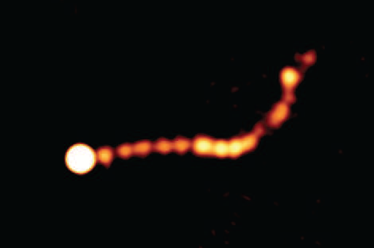 The jet known as 'PKS 0637-752' as seen by the Australia Telescope Compact Array (ATCA) in New South Wales, Australia clearly showing the shock diamond-like shapes in the two million light year long structure. Image Credit: Dr Leith Godfrey, ICRAR and Dr Jim Lovell, UTas.