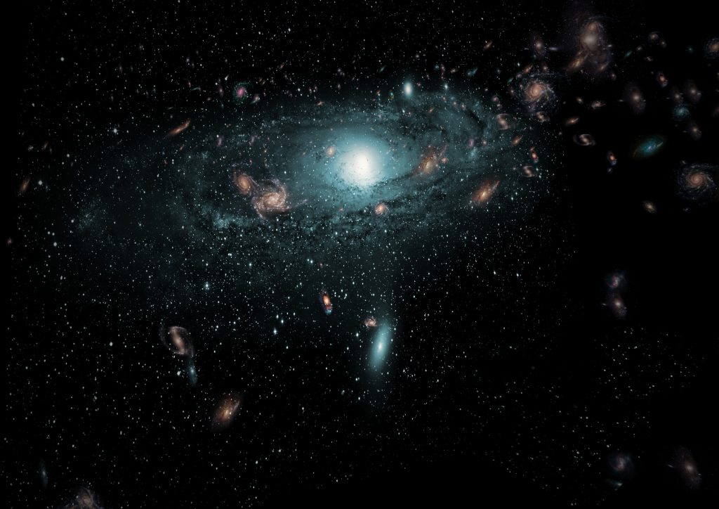 An artist's impression of the galaxies found in the 'Zone of Avoidance' behind the Milky Way. This scene has been created using the actual positional data of the new galaxies and randomly populating the region with galaxies of different sizes, types and colours. Credit: ICRAR