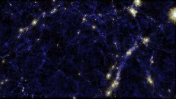 A simulation of the 'Cosmic Web' showing clusters of galaxies and a void in the middle of the image, where Dr Alpaslan and team discovered tendrils of galaxies. Credit: Cui, Newton and Power (ICRAR), Cunnama (UWC).