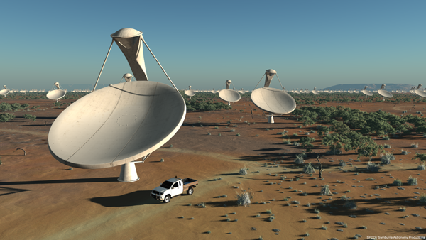The Square Kilometre Array will be the world's largest telescope, and likely need the world's fastest supercomputer to handle the data it will produce. Credit: Swinburne Astronomy Productions/SPDO.