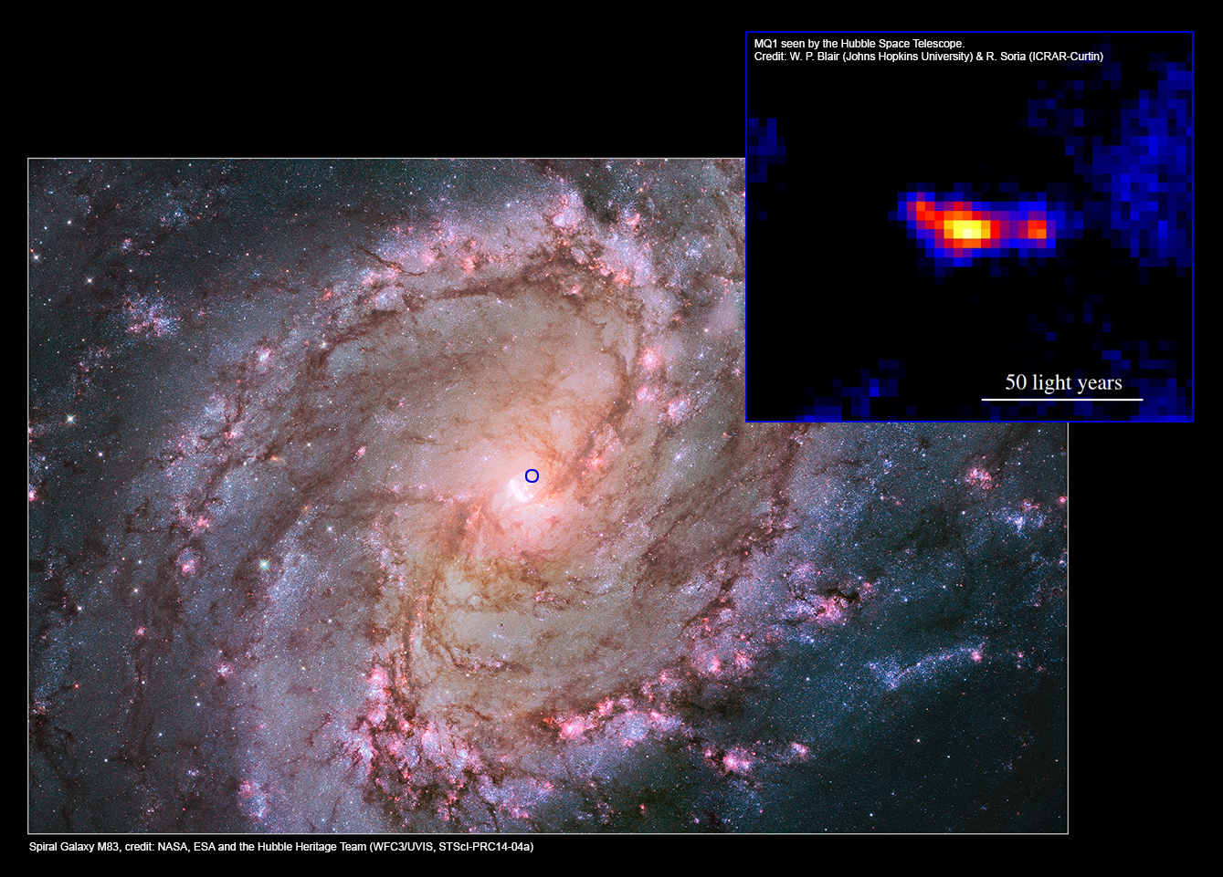 Nearby spiral galaxy M83 and the MQ1 system with jets, as seen by the Hubble Space Telescope. The blue circle marks the position of the MQ1 system in the galaxy (shown inset). Image Credits: M83 - NASA, ESA and the Hubble Heritage Team (WFC3/UVIS, STScI-PRC14-04a).MQ1 inset - W. P. Blair (Johns Hopkins University) & R. Soria (ICRAR-Curtin).