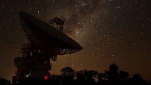Compact Array antennas at night. Credit Sascha Schediwy.