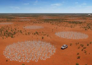 Artist's impression of the Australian part of the Square Kilometre Array radio telescope. Credit: Australia SKA Office