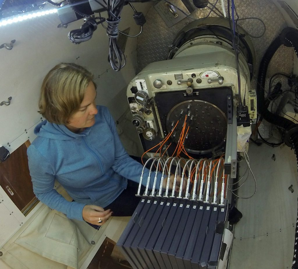 Amanda Bauer configuring the SAMI instrument for a night of observing with the AAT. Credit: Amanda Bauer/AAO.