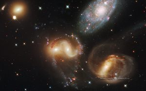 Galaxies of Stephan's Quintet in the constellation Pegasus, observed by the Hubble Space Telescope. Credit: NASA, ESA, and the Hubble SM4 ERO Team.