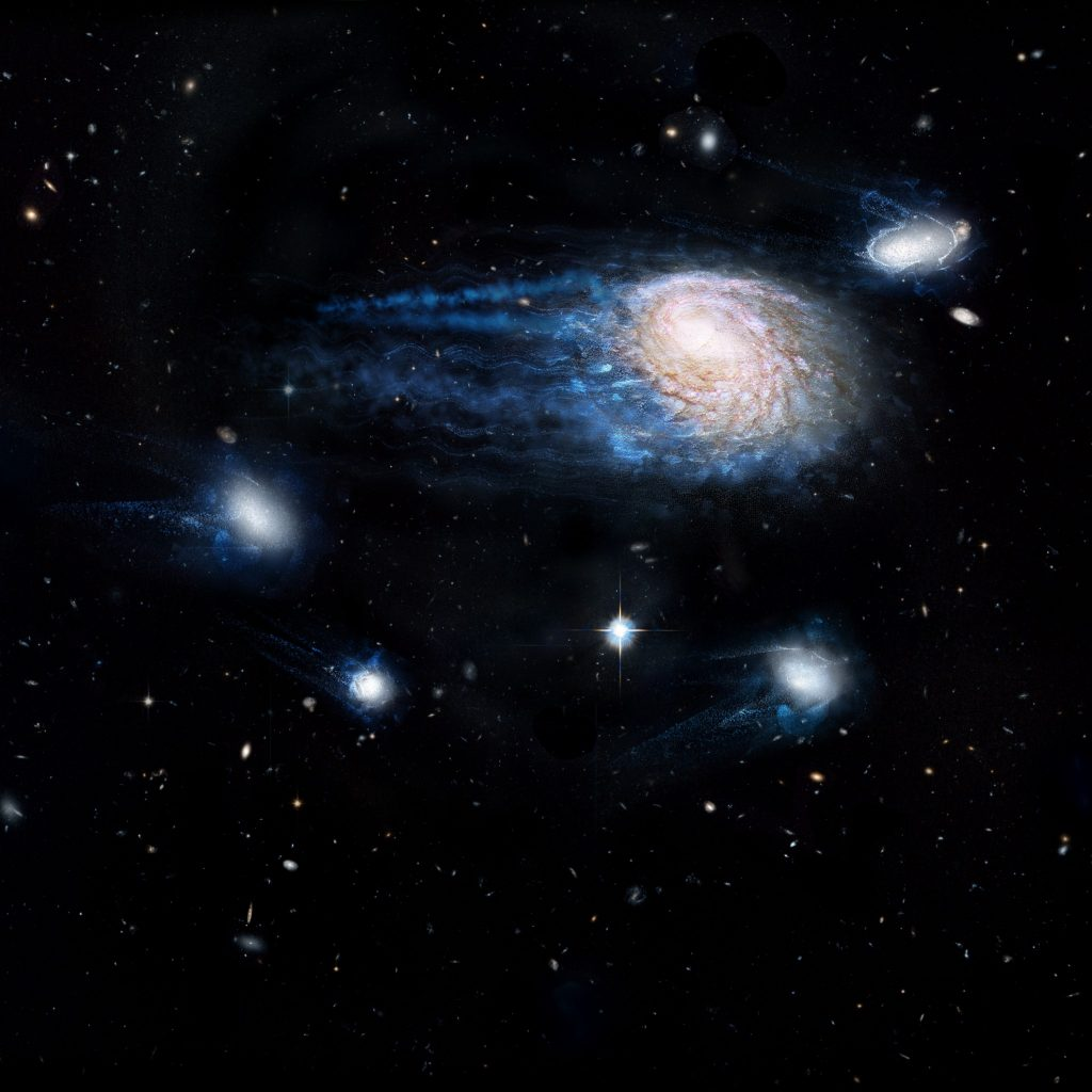 An artist's impression showing the increasing effect of ram-pressure stripping in removing gas from galaxies, sending them to an early death. Credit: ICRAR, NASA, ESA, the Hubble Heritage Team (STScI/AURA)