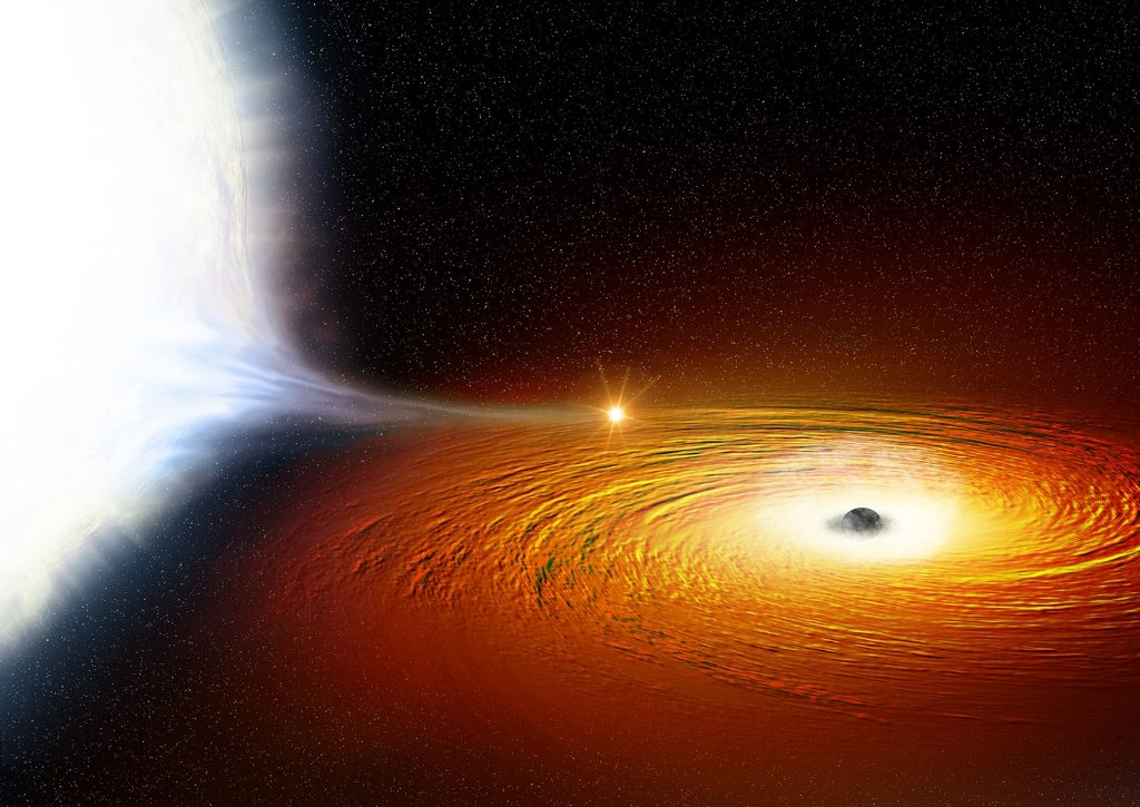 An artist's impression of a white dwarf star (left) in orbit around a black hole and so close that much of its material is being pulled away. There is a hotspot where the gas from the white dwarf hits the disc of matter swirling around the black hole. The black hole itself is surrounded by a cloud of ionised gas, which contains large amounts of oxygen. Credit: X-ray: NASA/CXC/University of Alberta/A.Bahramian et al.; Illustration: NASA/CXC/M.Weiss.