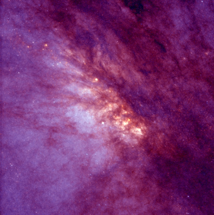 This NASA/ESA Hubble Space Telescope image of the core of the nearest starburst spiral galaxy, NGC 253, reveals violent star formation within a region 1, 000 light-years across. A starburst galaxy has an exceptionally high rate of star birth, first identified by its excess of infrared radiation from warm dust. Credit: Carnegie Institution of Washington.