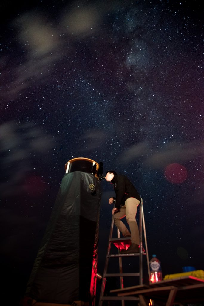 Observing through the largest privately owned telescope in WA. Credit: Kim Steele