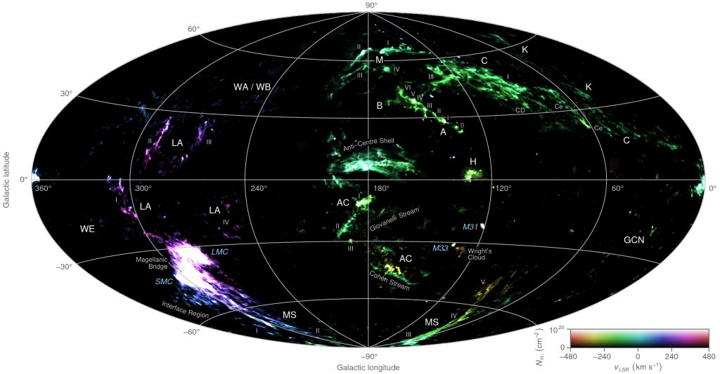 A false-colour all-sky map combining the column density and radial velocity of high-velocity neutral hydrogen gas detected by the HI4PI survey. Brightness corresponds to column density and hue to radial velocity. Credit: ICRAR.