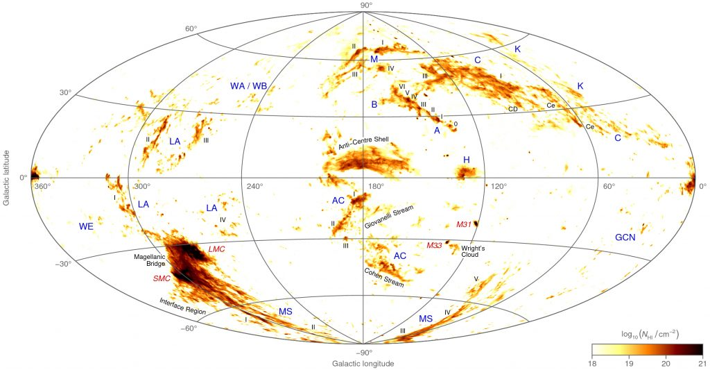 An all-sky map of neutral hydrogen gas moving at high velocity. Credit: ICRAR.