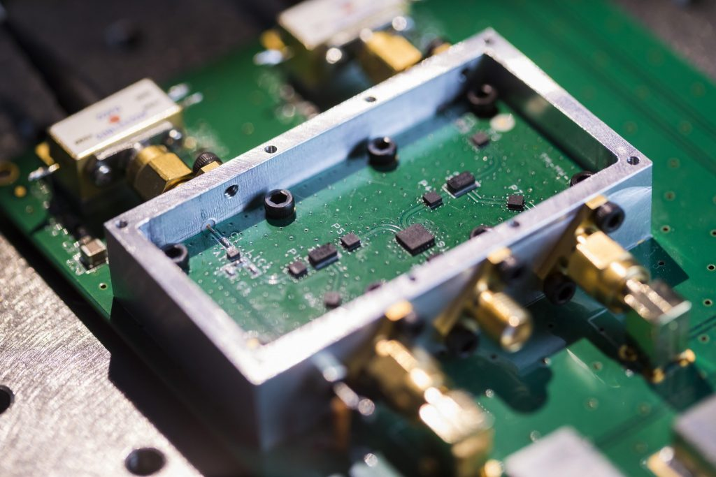A close-up of the high-precision electronic microwave-frequency mixing circuitry—a crucial part of every SKA-mid Transmitter Module. Credit ICRAR.