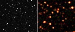 """The ATLBS (left) and GLEAM (right) views of four square degrees of the radio sky. Combining the high resolution ATLBS data with the spectral """"radio colour"""" of GLEAM will uncover the history of the AGN in the field."""