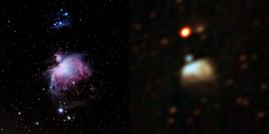 The Orion Nebula in optical light (left) and radio (right), the latter as observed by the MWA GLEAM survey. This project would involve using the fine frequency resolution of the MWA to search for radio recombination lines in star-forming regions like Orion.
