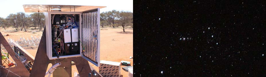 (left) The astrocam that has collected all the data for this project. It is co-located with a normal DFN camera. (right) The constellation of Orion as seen by the astrocam.