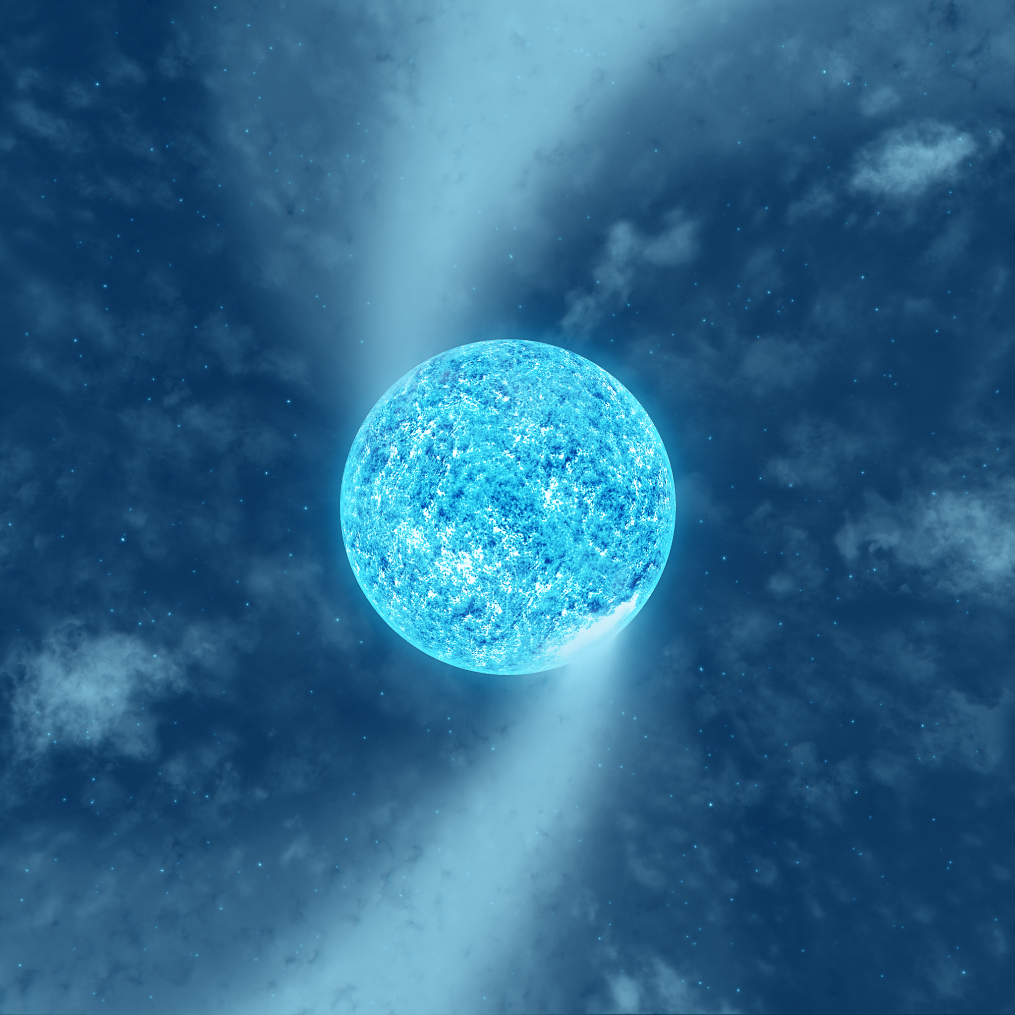 Artist's impression of the hot massive supergiant Zeta Puppis. The rotation period of the star indicated by the new BRITE observations is 1.78 d, and its spin axis is inclined by (24 ± 9)° with respect to the line of sight. [Image credits: Tahina Ramiaramanantsoa]
