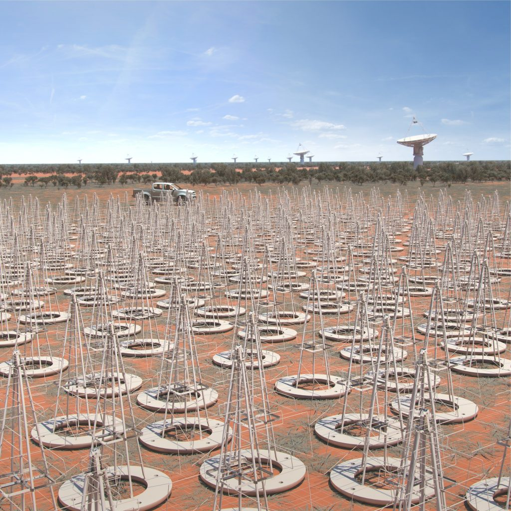 Close up artist rendition of SKA-low. These dipole antenna which will number in their hundreds of thousands will survey the radio sky in frequencies as low at 50MHz.