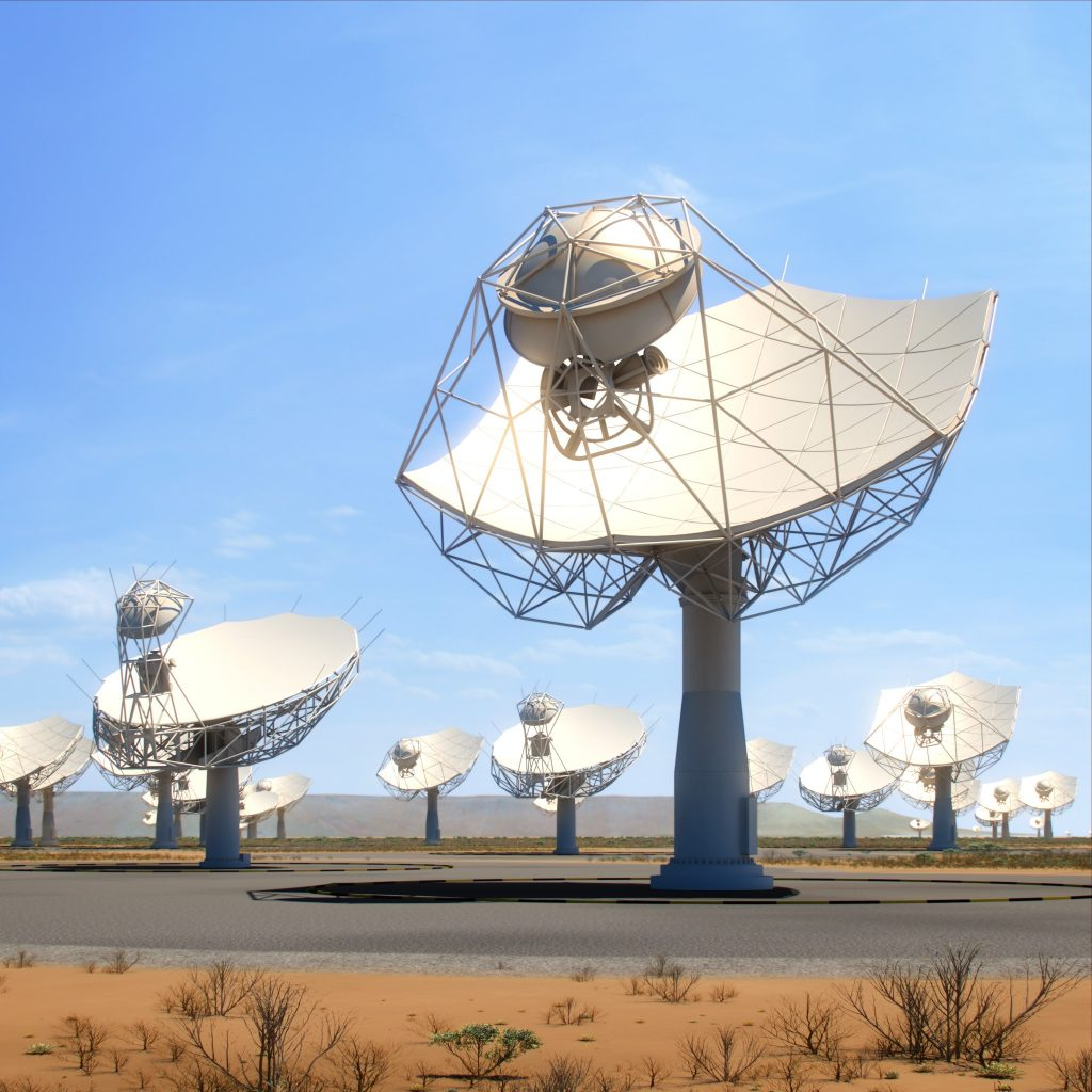 This artists rendition of the SKA-mid dishes in Africa shows how they may eventually look when completed. The 15m wide dish telescopes will provide the SKA with some of its highest resolution imaging capability, working towards the upper range of radio frequencies which the SKA will cover. Credit: SKA Organisation.