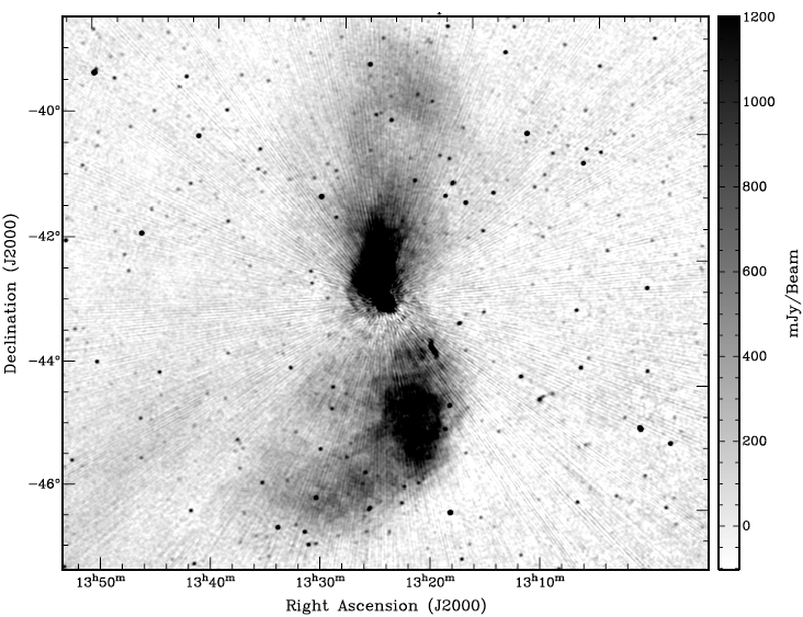 Centaurus A observed at 154 MHz by the Murchison Widefield Array.