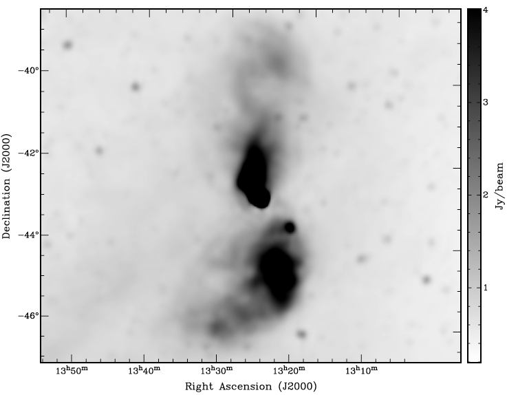 The giant radio galaxy Centaurus A as observed by the Parkes radio telescope.