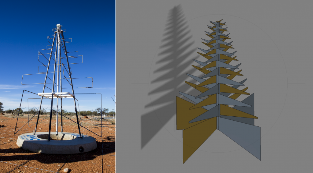 An AAVS1 antenna in the field at the Murchison Radio-astronomy Observatory alongside a schematic showing the design for Low Frequency Aperture Array antennas.
