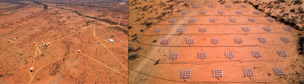 "Left: An aerial view of the core part of CSIRO's Australian SKA Pathfinder (ASKAP). Credit: CSIRO Right: An aerial view showing some of of the 256 ""tiles"" belonging to the Murchison Widefield Array. Credit: ICRAR"