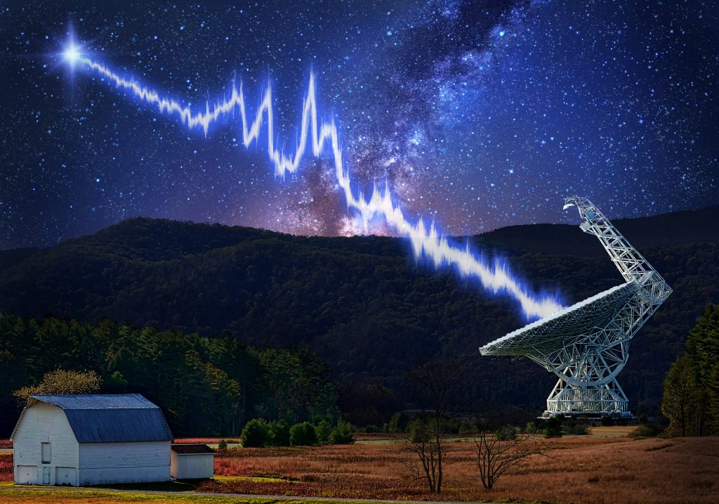 The 100-metre Green Bank telescope in West Virginia is shown amid a starry night. A flash from the Fast Radio Burst source FRB 121102 is seen traveling toward the telescope. The burst shows a complicated structure, with multiple bright peaks—these may be created by the burst emission process itself or imparted by the intervening plasma near the source. This burst was detected using a new recording system developed by the Breakthrough Listen project. Credit: Image design - Danielle Futselaar; Photo usage - Shutterstock.com