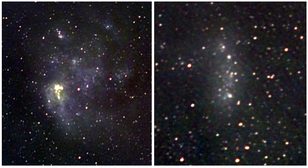 A red, green, blue composite image of the Large Magellanic Cloud (left) and Small Magellanic Cloud (right) made from radio wavelength observations taken at 123MHz, 181MHz and 227MHz. At these wavelengths, emission from cosmic rays and the hot gases belonging to the star forming regions and supernova remnants of the galaxy are visible. Credit: ICRAR.