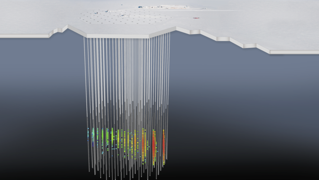 The IceCube Neutrino Observatory encompasses a cubic kilometre of pristine ice deep below Antarctica's surface and next to the NSF Amundsen-Scott South Pole Station. In this illustration, based on an aerial view near the South Pole, an artistic rendering of the IceCube detector shows the interaction of a neutrino with a molecule of ice. The display pattern is how scientists represent data on recorded light. Every coloured circle represents light collected by one of the IceCube sensors. The colour gradient, from red to green/blue, shows the time sequence. Credit: IceCube Collaboration/NSF