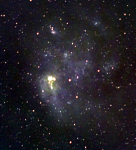 A red, green, blue composite image of the Large Magellanic Cloud made from radio wavelength observations at 123MHz, 181MHz and 227MHz. At these wavelengths, emission from cosmic rays and the hot gases belonging to the star forming regions and supernova remnants of the galaxy are visible. Credit: ICRAR.
