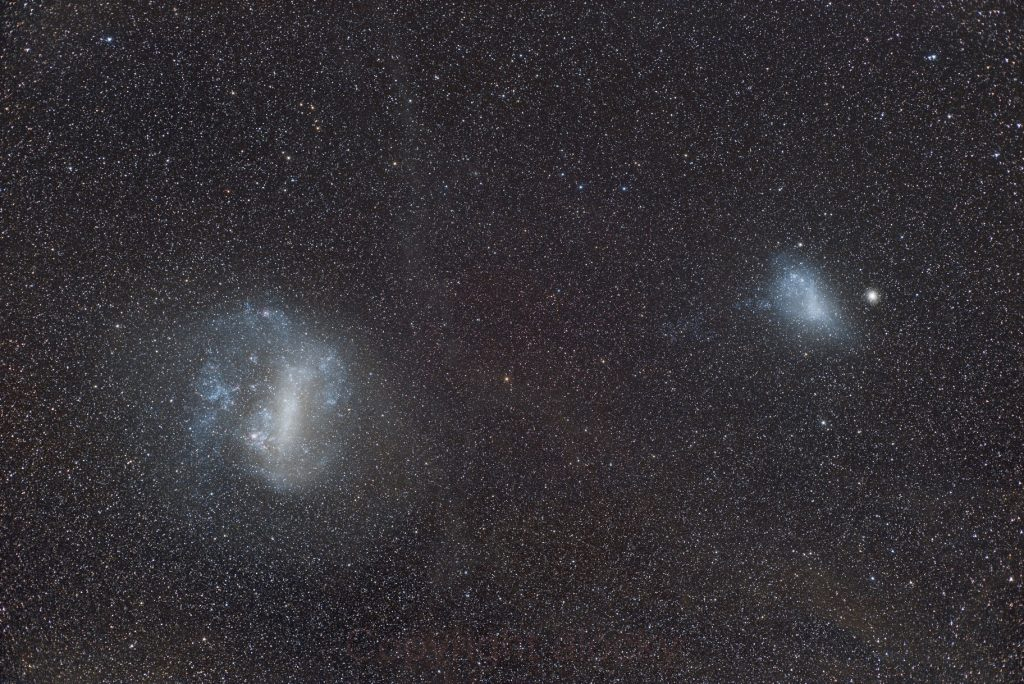 The Large and Small Magellanic Clouds. Credit: Andrew Lockwood.