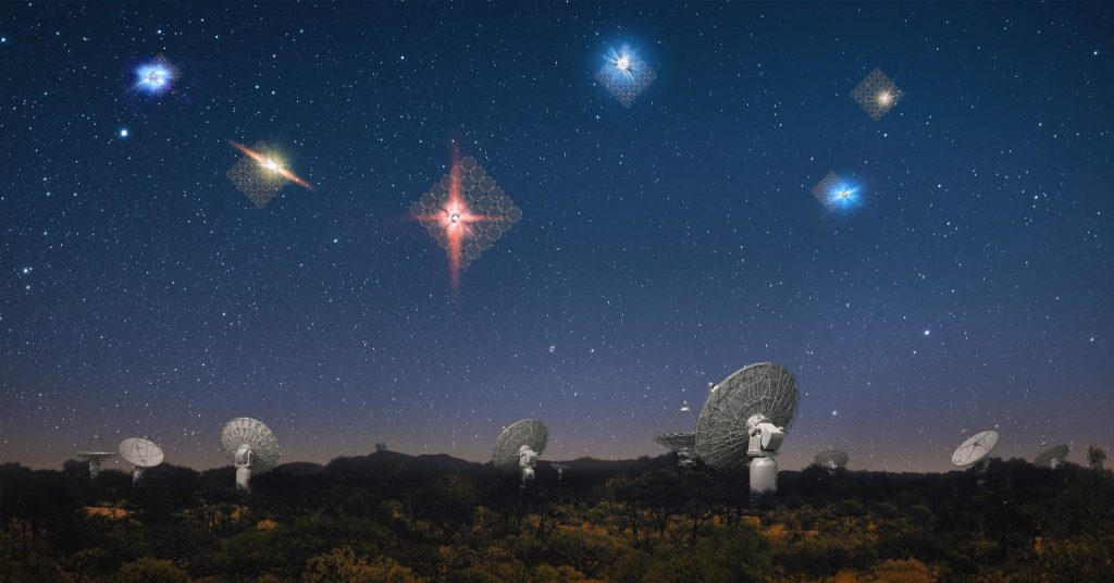 "An artist's impression of fast radio bursts in the sky above CSIRO's ASKAP radio telescope at the Murchison radio-astronomy Observatory. Each antenna can observe 36 circular patches of sky and in the ""fly's eye"" configuration each antenna can be pointed in a different direction, enabling ASKAP to detect the brightest and rarest fast radio bursts. Credit: OzGrav, Swinburne University of Technology."