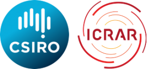 Galactic Sponsors for the ASA EPOC Workshop 2018, CSIRO and ICRAR. Image shows the blue circular CSIRO logo and the red, orange and yellow swirls of the ICRAR logo.