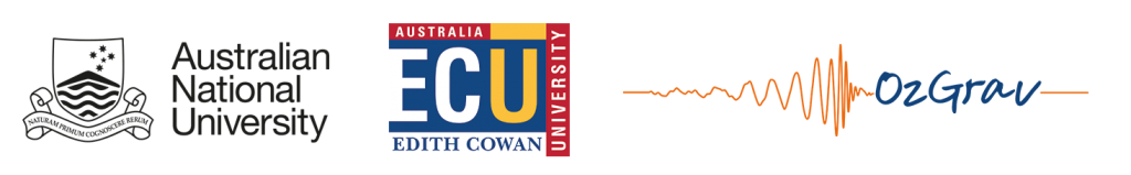 Stellar Sponsors for the ASA EPOC Workshop 2018, ANU, ECU and ozGrav. Image shows the ANU logo in black, ECU logo and then ozGrav logo from left to right.