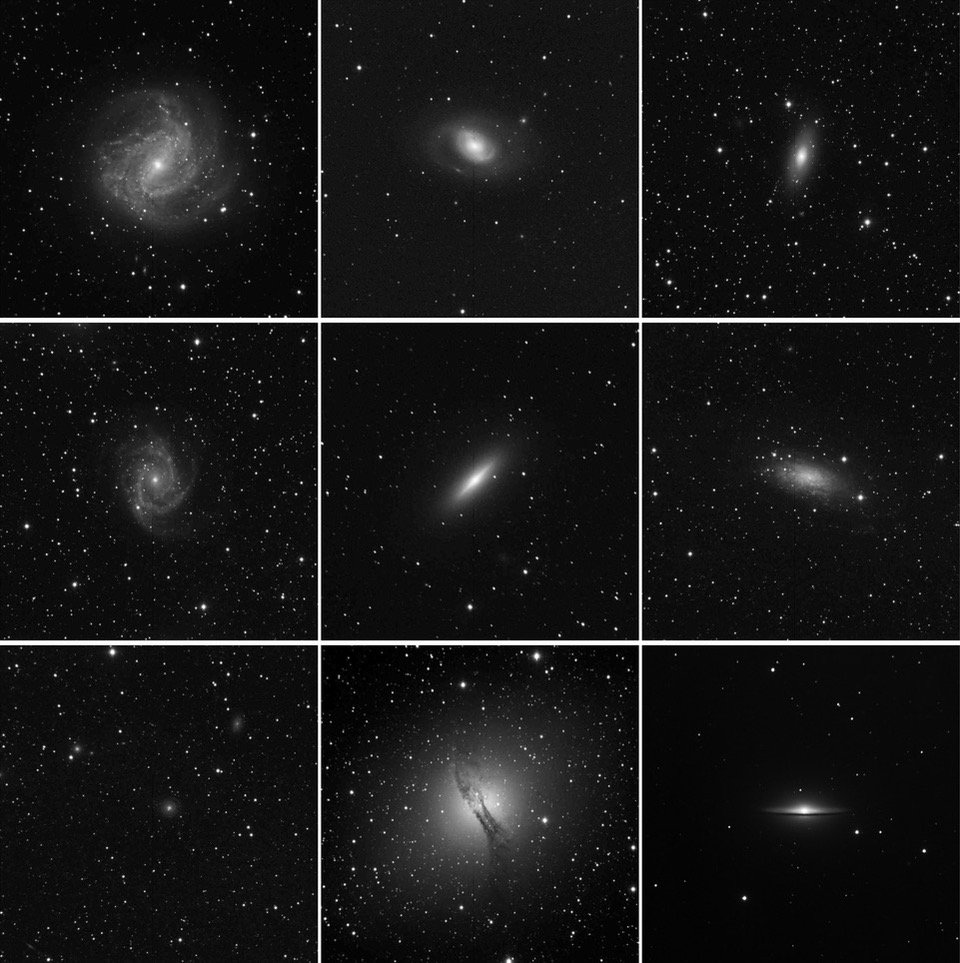 Galaxy images taken with SPIRIT by the Iona Presentation College students.
