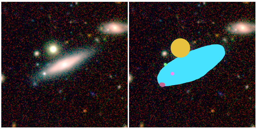An image of AstroQuest galaxy alongside how it looks in the AstroQuest platform once a citizen scientist has 'helped' the computer to identify what belongs to the main galaxy and what doesn't. Credit: ICRAR/AstroQuest