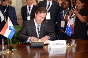 Australia's representative Dr Greg French, Ambassador to Italy, signing the international treaty to form the SKA Organisation.