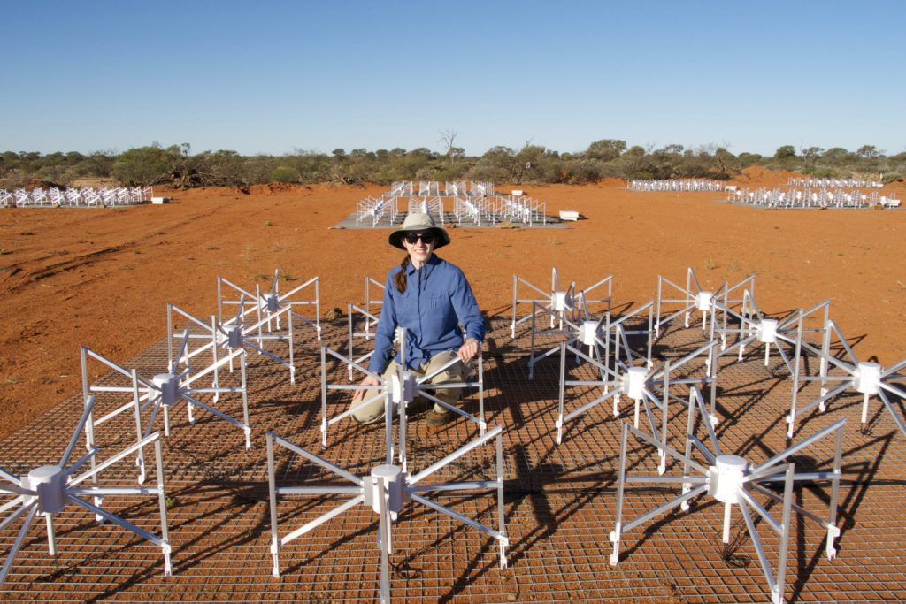 Dr Nichole Barry at The Murchison Widefield Array (MWA). Credit: Ruby Byrne