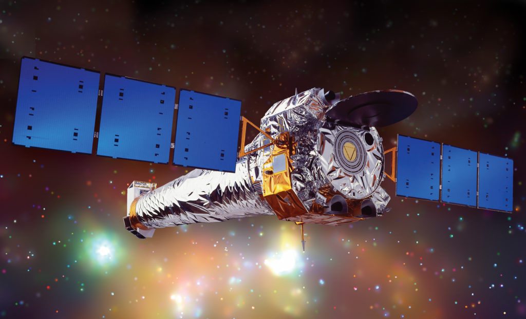 NASA's Chandra X-ray Observatory is a telescope specially designed to detect X-ray emission from very hot regions of the Universe such as exploded stars, clusters of galaxies, and matter around black holes.